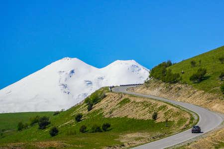 Road Leading To Mount Elbrus In Summer.
