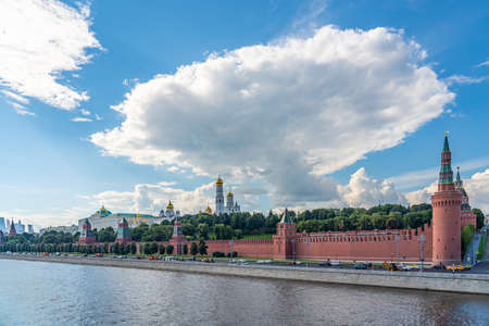 KREMLIN, MOSCOW. RUSSIA JULY 19. 2020: The Fortress in the Center of Moscow, close to the Red Square