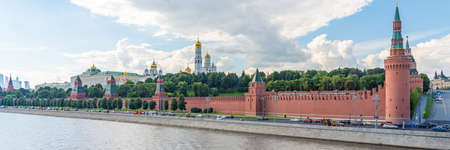 KREMLIN, MOSCOW. RUSSIA JULY 19. 2020: Panorama of the Fortress in the Center of Moscow, close to the Red Square, Panoramic view