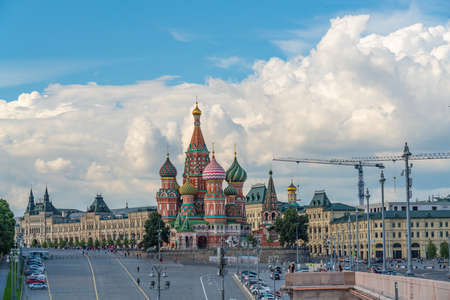 CREAM. MOSCOW, RUSSIA JULY 19.2020: St. Basil's Cathedral in Moscow, an old Cathedral near the Moscow Kremlin.