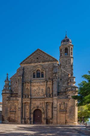 The Sacred Chapel of El Salvador, Capilla del Salvador, and the Plaza de Vazquez de Molina, Ubeda, Jaen Province, Andalusia, Spain, Western Europe. vertical