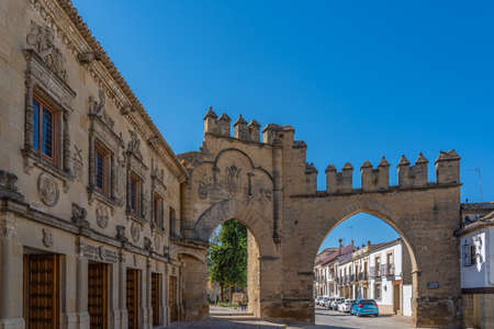 Baeza, Spain October 16. 2020: Villalar arch and Jaen Gate in Baeza. Renaissance city in the province of Jaen. World heritage site by Unesco. Andalusia, Spain
