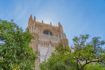 Detailsof the Cathedral of Saint Mary of the See in Seville, largest Gothic cathedral. Banco de Imagens
