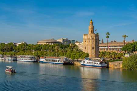 SEVILLE-SPAIN, OCTOBER 17th 2020: Torre del Oro, Seville, Spain. Military watchtower erected in order to control access to Seville via the Guadalquivir river