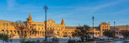 SEVILLE-SPAIN, OCTOBER 18. 2020: Plaza de Espana Square Seville at sunset time, Spain Andalusia, panorama
