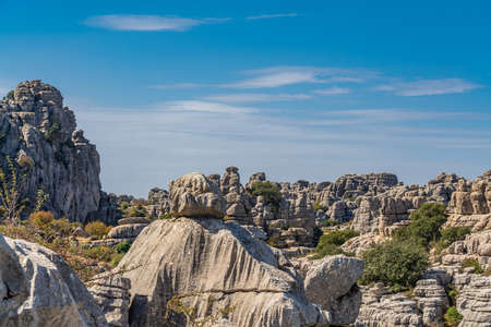 Park El Torcal de Antequera is known for its unusual landforms and is one of the most impressive karst landscapes. Banco de Imagens