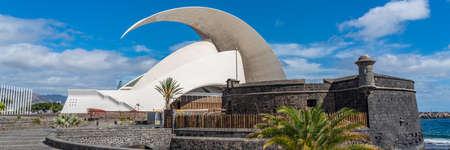 SANTA CRUZ DE TENERIFE, SPAIN - NOVEMBER 11th 2020: Auditorio de Tenerife in Santa Cruz de Tenerife, Spain. Futuristic building designed by Santiago Calatrava. panorama