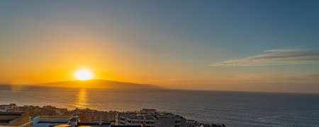 Beautiful panoramic sunset landscape view at Los Gigantes, Tenerife, Canary Islands, Spain, panorama