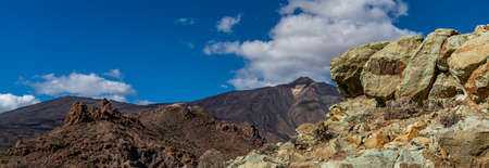 Volcano Teide and lava scenery in Teide National Park, Rocky volcanic landscape in Tenerife, Canary Islands, Spain