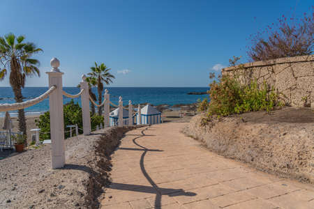 Costa Adeje with Duque Beach. One of the most popular beaches on Tenerife. Spain 免版税图像