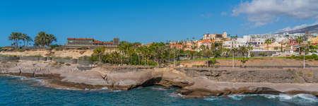 View of Duque Castle from Playa de Fanabe Adeje Tenerife, Canary Islands, Spain