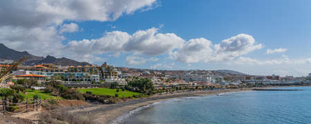 Fanabe Beach with beautiful Clouds at the Costline from Adeje, Tenerife, Canary Islands, Spain, Panorama