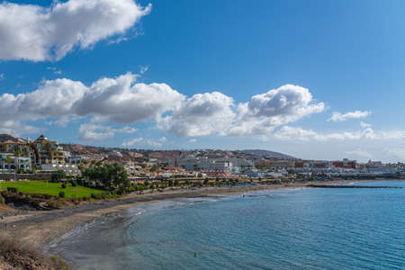 Fanabe Beach with beautiful Clouds at the Costline from Adeje, Tenerife, Canary Islands, Spain