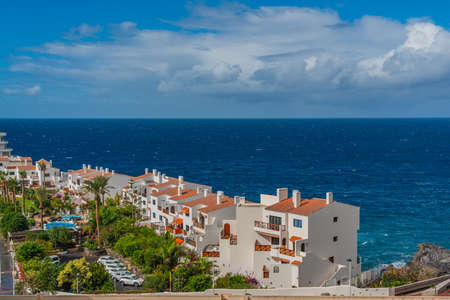 View of Puerto de Santiago with the typical Building, Tenerife, Canary Islands, Spain