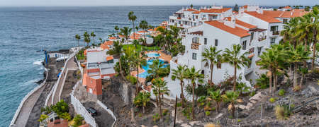 View of Puerto de Santiago with the typical Building, Tenerife, Canary Islands, Spain, Panorama