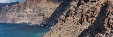 Beautiful view of Los Gigantes cliffs in Tenerife, Canary Islands, Spain. Scenery panorama nature background