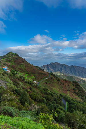 Panoramic view on Anaga mountains nature park in Tenerife, Canary Island, Spain, vertical