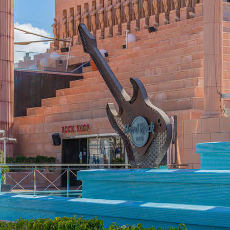LAS AMERICAS, TENERIFE SPAIN - DECEMBER 02, 2020: Hard Rock Cafe in Playa de las Americas, Tenerife, Canary Islands in Spain.