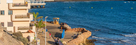 EL MEDANO, SPAIN - DECEMBER 01. 2020: Colorful El Medano beach on the Southern Coast of Tenerife