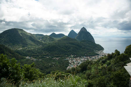Dramatic landscape and city on Caribbean Island