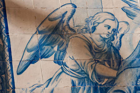 Angel in Antique Hand Painted Ceramic Tiles  photo