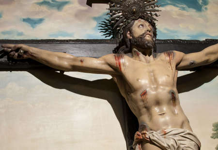 Jesus Christ Cross painting in the background Stock Photo - 5616920