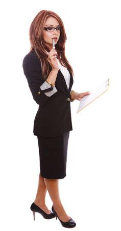 Secretary holding a notepad and thinking isolated on white.  photo