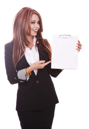 demonstrating: Businesswoman demonstrating with an empty paper on a clipboard