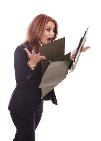 dropped: Empresaria soltar archivos, aislados en blanco