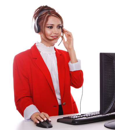 Customer Service Representative answering phone calls, wearing a red business suit. Stock Photo - 7511247