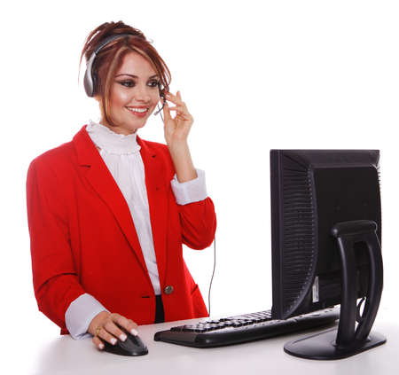 Customer Service Representative answering phone calls, wearing a red business suit. photo