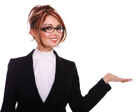 若く、幸せな実業家秘書先生何かを示す