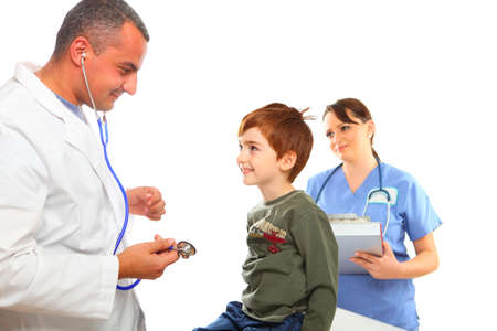 Isolated on white, Doctor and nurse examining a boy