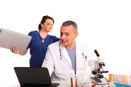 researches: researches in laboratory working on something