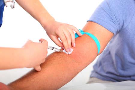 hepatitis: Flue Shot Vaccination, isolated on white