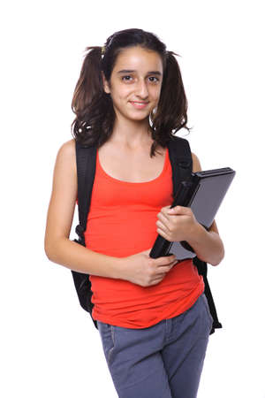 high school student standing with black laptop posing for the camera, isolated on white Stock Photo