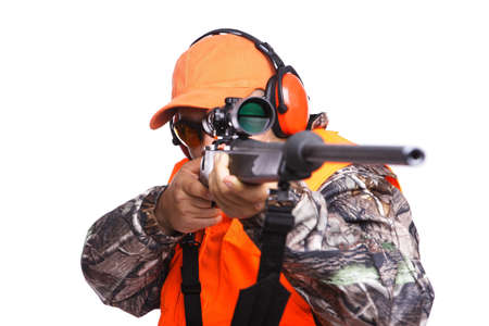 close up of a Hunter aiming a rifle while wearing camouflage clothing, isolated on white Stock Photo - 7853144