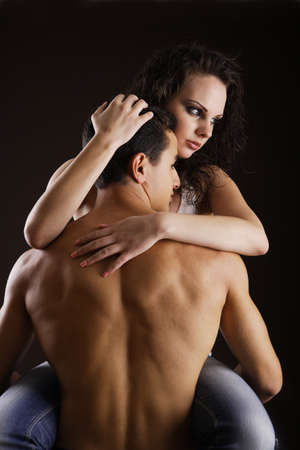 Seducing each other while isolated on black background