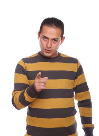 expressing negativity: Male wearing stripped shirt expressing negativity pointing finger