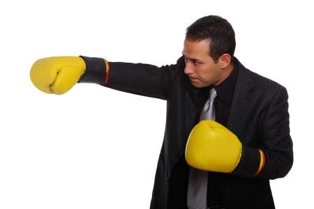 Tough Businessman sideview wearing boxing gloves photo
