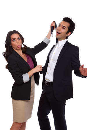 strangling: Playfull business people at the studio