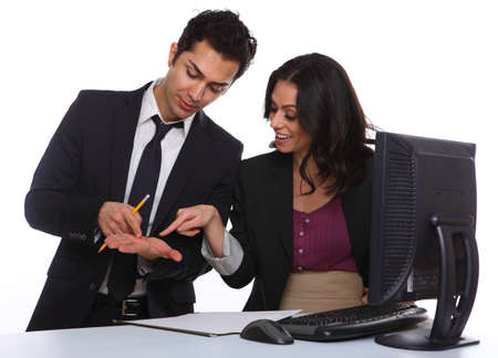 Businesscouple solving a problem in the office Stock Photo - 19641993