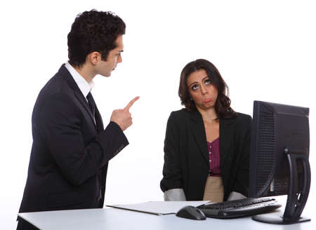 Angry Manager with secretary infront of a computer photo