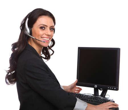 secretaries: Servicio con una sonrisa cauc�sica mujer aislada en blanco