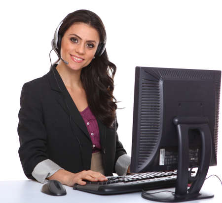 customer service representative: Female customer service representative smiling, isolated on white Stock Photo