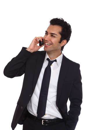Business man negotiating on phone, isolated on white Stock Photo - 19641984