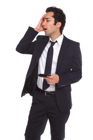 awe: Businessman forgeting about a meeting and having problems.