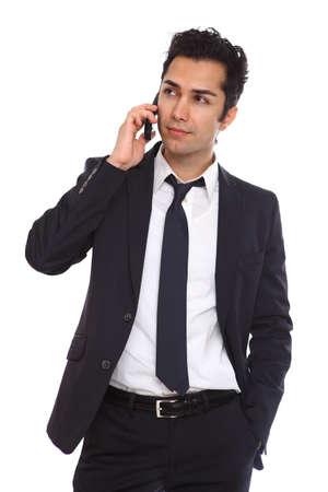 Business man negotiating on phone isolated on white Stock Photo - 19641981
