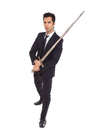 slayer: Businessman with a long sword, on a white background