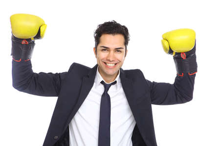 Agressive Businessman with boxing gloves, isolated on white photo